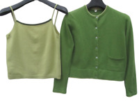 Margaret O'Leary Olive/Green Twinset 100% Cashmere Sweater Cardigan Tank Set 1 S