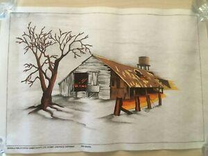 Vintage Hobbytex Paint by Numbers , Old Barn on Artspun Fabric, pre shaded