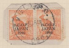 (TIC183) 1946 AU JAPAN ½d kangaroo BCOF pair on piece F/U