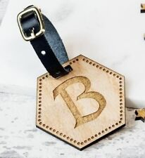 Personalised Wooden Luggage Tag Hexagon Initial Suitcase Tags