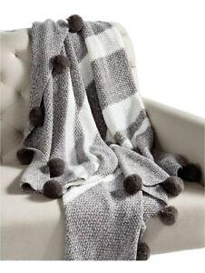 Whim by Martha Stewart Collection Bar Code Throw Gray White 50 x 60 NEW