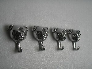 Metal Bull Dog Coat Hooks Lot of 4  Pcs Sculpture Statue Figurine B au.