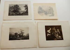 4 Vintage Etchings Lithographs Jordaens Duplessis Bishop Lorraine