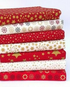 CHRISTMAS FABRIC PATCHWORK SQUARES BUNDLE RED CREAM STARS & SNOWFLAKES MATERIAL