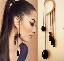 Large Exaggerated Ear Cuff One Earring Black Gold Tassel Statement Clip Punk Big