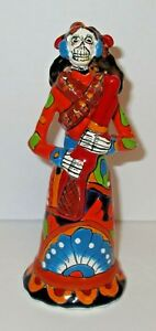 "Talavera Sugar Skull Catrina Day of the Dead Rifle Bandita Sculpture 7 1/4"""