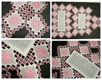 Vtg Pink White hand made crochet  Doilies lot 3 pc  Farmhouse Cottage Cabin