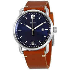 NWT Fossil Commuter Blue Dial Brown Leather Men's Watch FS5325