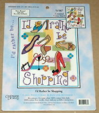"Candamar ""I'd Rather Be Shopping"" Floral / Designer Shoes Cross Stitch Kit NIP"