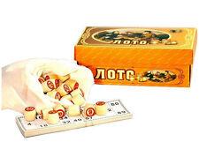 russisches LOTTO LOTO Spielset mit Holzfiguren Bingospiel Familienspiel
