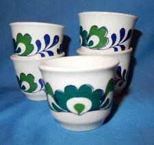 Set of 5 Vintage Norwegian Rosemaling Egg Cups Blue Green White Norway cir. 1970