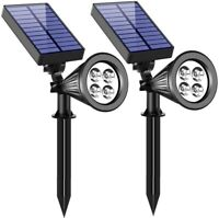 2 Pcs Spotlights Waterproof 4 LEDs Solar RGB Light Lamp for Lawn Garden Patio