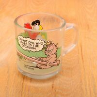 Vintage Garfield The Cat Glass Mug McDonald's 1978 Rise To The Occasion SeeSaw