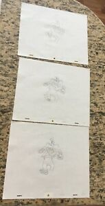 DISNEY   PRODUCTION CEL PENCIL  DRAWING   , GOOFY  3 DRAWINGS IN  SEQUENCE