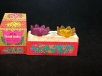 2 floral medley perfumed Candles AVON Vintage With Box purple yellow holders