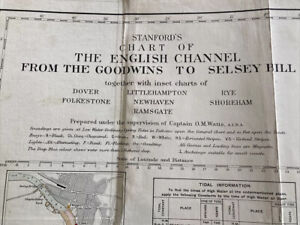Early 20th C. Stanford's Chart Of The English Channel Goodwins To Selsey Bill