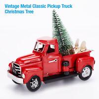 Christmas Decor Vintage Metal Classic Pickup Red Truck w/Tree Farm House Rustic