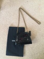 Designer Authentic Vintage Chanel Across Body Black Patent Bag Gold Chain Rare