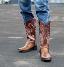 Mens Embroidery Square Toe Mid-Calf Boots Crocodile Pattern Cowboy Shoes Feng8