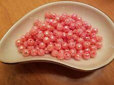 Vintage Rosebud Pink Lemonade AB Luster Plastic Lucite Beads 8mm 144 pc pack