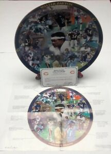 Walter Payton Danbury Mint Chicago Bears Porcelain Plate 23kt AA457 With COA
