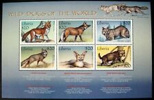 2000 MNH LIBERIA WILD DOGS STAMP SHEET WILDLIFE ANIMALS WOLF GRAY FOX NATURE