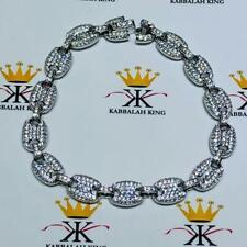 Platinum Sterling Silver Pave White Sapphire Puffed Mariner Link Tennis Bracelet