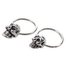 """Stainless Steel Skull Round Hoop Loop Earrings 0.39x0.28"""" FASHION Y6F7"""