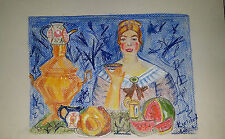ORIGINAL Aquarell u. Pastel Stifte Bild Naive Malerei Boris Kustodijew Salon