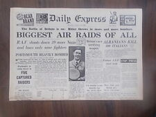 DAILY EXPRESS WWII NEWSPAPER AUGUST 13th 1940 BATTLE OF BRITAIN - AIR RAIDS