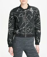 DKNY Womens Sport Metallic-Print Cropped Bomber Jacket Black/Silver Size Medium