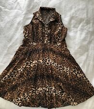 AS NEW CITY CHIC Leopard Animal Print A-Line Fit & Flare Cotton Shirt Dress - M