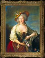 Hand painted Old Master-Art Antique Oil Painting girl noblewoman on canvas