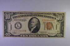 1934 A $10 Federal Reserve Note  - L70584490A - Hawaii - Rare !!