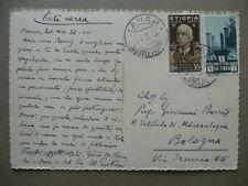 Autografo Michele Gortani Cartolina 1936 Geologo Sardegna Carnia Africa A.O.I.
