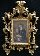 HAND PAINTED Virgin Mary & Baby Jesus In ROCOCO Gold GILT WOOD FRAME Italy