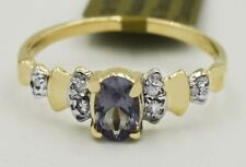 ALEXANDRITE 0.68 Cts & GENUINE DIAMONDS RING 10K GOLD ** New With Tag **
