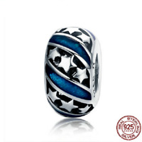 100% 925 Sterling Silver Bright Galaxy Stars Spacer Charm Beads pandora