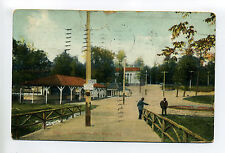 Fort Wayne IN Ind Robinson Park, people, 1908, sign says do not ? on bridge