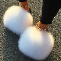 Real Farm Fox Fur Slippers Furry Fluffy Women Sandals Plush Wholesale Slides