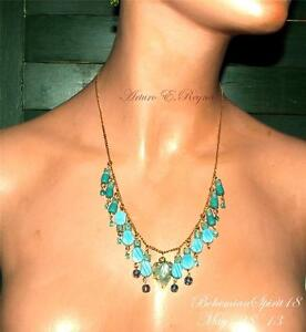ARTISAN ONE OF A KIND CZECH GLASS CARVED TURQUOISE CHARMS BEADS BIB/NECKLACE SET