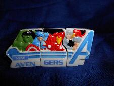 AVENGERS 3 Piece LOGO MARVEL Mini Plaques FRENCH Porcelain FEVES Thor IRON MAN