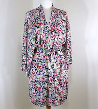 Victorias Secret Floral Bath Robe Short Kimono One Size Silky Pink Purple Navy