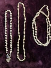 "3 Potato Pearl Necklaces Creamy White 18"", 24"", 36"" **USA SELLER and SHIPPING**"