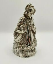 More details for antique elkington & co victorian table bell silver plated lady & dog figurine