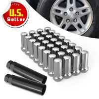 32 Chrome 7 Spline Wheel Lug Nuts | 14x1.5 | Fits Chevy GMC Hummer + 2 Keys