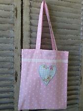 Pink Spotted Shopper Market Bag Tote Bag Lace Trim Heart Applique