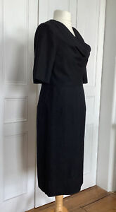 COS DRESS BLACK UK16 EU42 100% WOOL COWL NECK SOFTLY FITTED LINED