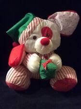 Fisher Price 1991 Puffalump Puff a Lump Christmas dog present Santa hat