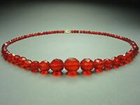 Vintage Czech Bohemian Siam Red faceted Glass bead necklace